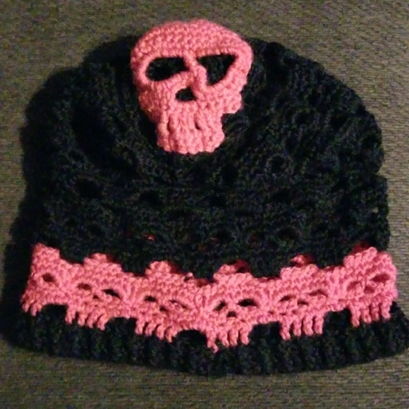 Unknown Accessories Black And Hot Pink Crochet Skull Hat Poshmark